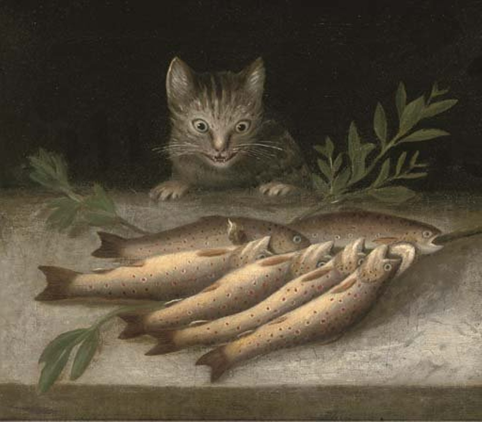 circle of sebastien stoskopff kitchen still life with fish and cat 16502
